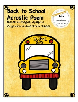 Back to School Acrostic Poem & Craftivity - Graphic Organizers, Poem Pages