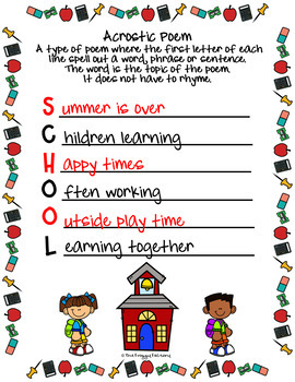 Back to School Acrostic Poems