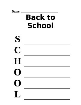 Back to School Acrostic Puzzle