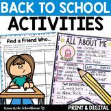 Back to School Activities for First Weeks of School