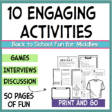 10 Fun Back to School Activities for 4th 5th 6th 7th 8th grade First Day Pack