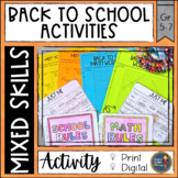 First Week of School Activities with Math Print and Digital