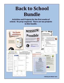 Back to School Activities Bundle - projects, games and forms for school startup