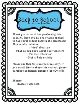 Back to School Activities Bundle (FREEBIE)
