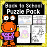 Back to School Activities - Math & Literacy Puzzles | Earl