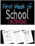 First Week of School Activities - 5 Activites included!