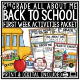 Back to School 6th Grade -All About Me Poster, First Day of School Activities