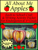 Back to School Activities: All About Me Apples Craft Activity K-1st - B/W