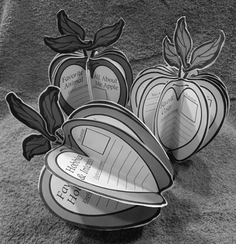 Back to School Activities: All About Me Apples Fall Craft Activity - B/W