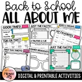 Back to School Activities - All About Me Book - Printable