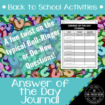 Back to School Activities - Bellwork and/or Ticket Out The Door Journal