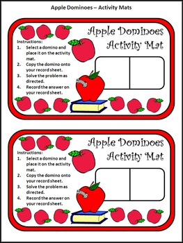 Back to School Activities: Apple Dominoes Fall Math Activity Packet