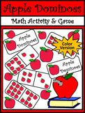 Back to School Activities: Apple Dominoes Fall Math Game Activity -Color Version