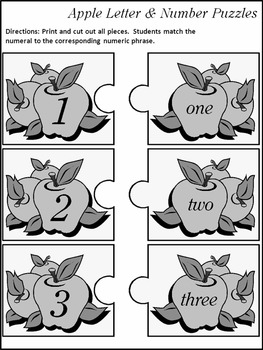 Back to School Language Arts: Apple Letter & Number Puzzles Activity