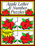 Back to School Language Arts: Apple Letter & Number Puzzles Activity -BW Version