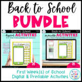 Back to School Activities BUNDLE   Beginning of the Year   Distance Learning