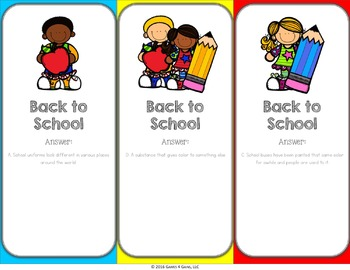 Back to School Activities: Back to School Reading Game