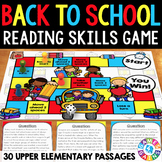 Back to School ELA Game: Reading Comprehension Passages and Questions
