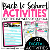 Back to School Activities -Beginning of the Year Digital Pages-Distance Learning