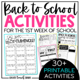 Back to School Activities | Beginning of the Year Printable Pages