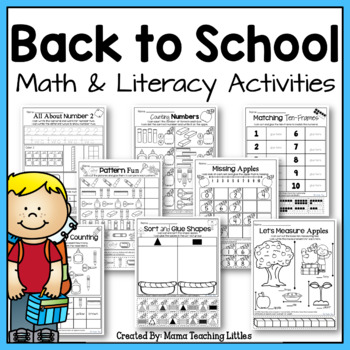 Back to School Activities Bundle - Math and Literacy - No Prep