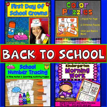Back to School Activities Bundle: Handwriting Worksheets,  Crowns & Puzzles-Hats