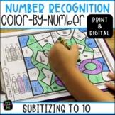 Number Recognition - Subitizing - Kindergarten, 1st, 2nd Grades Color by Number