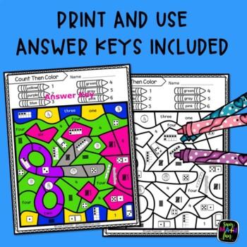 Subitizing Worksheets to 10 - Kindergarten, 1st, 2nd Grades - Color by Number