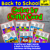 Back to School Activities: Color by Sight Word - Sentence Writing - 3rd Grade