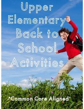 Back to School Activities *Common Core Aligned*
