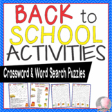 Back to School Activities Crossword Puzzle and Word Searches