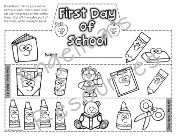 Back to School Activities : Crowns and Wristbands - First Day of School Craft