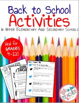 Back to School Activities/ First Day Activities