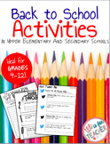 Back to School Activities/ First Day Activities