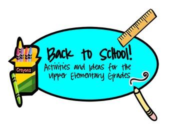 Back to School Activities For Upper Elementary Grades