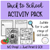 Back to School Activities Fun Pack I Fun Activities for th