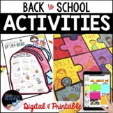 Back to School Activities, First Day of School Activities,
