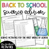 Back to School Beginning of the Year Activities Science Edition