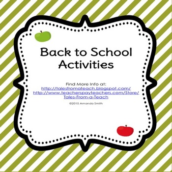 Back to School Activities: Getting to Know Each Other