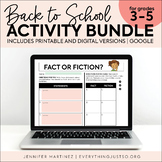Back to School Activities: Getting to Know You   DIGITAL &
