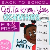 """Back to School Activities (Grades 1-2) """"Get to Know You"""" F"""