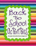 Back to School Activities Grades 1-3