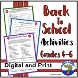 Back to School Activities - Printable Packet Grades 4 - 6 - First Week of School