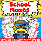 Back to School Activities : Mazes - Fine Motor Skills and Problem Solving Skills