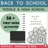 Back to School Activities Middle & High  | Google Apps | A