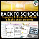 Digital Back to School Activities - Get to Know You Resource for Tweens & Teens