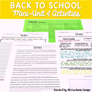 Back to School Activities & Mini-Unit for Middle School -