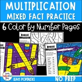 Multiplication Worksheets    Fact Fluency Color by Number    Distance Learning