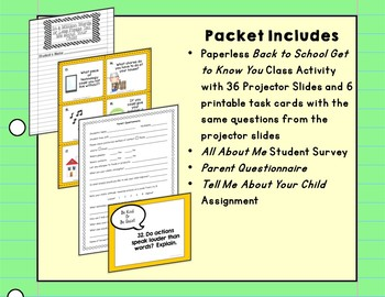 Back to School Activities No Prep Upper Elementary, Middle School, & High School
