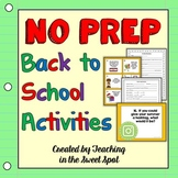 Back to School Activities No Prep Upper Elementary, Middle